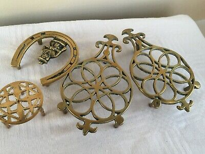 Collection of 4 vintage brass trivets