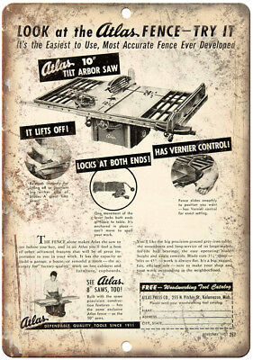 """Atlas Tilt Arboar Saw Table Saw Ad 10"""" X 7"""" Reproduction Metal Sign Z37"""