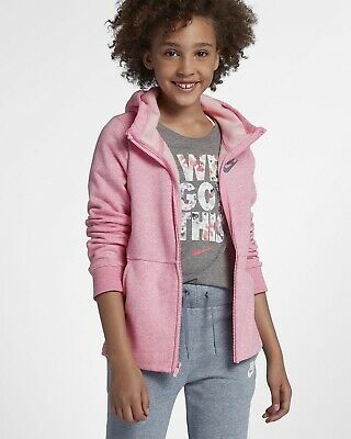 Nike Older Girls Full Zip Hoodie, Pink, Fleece Lined, Size L, 12-13 Years NEW