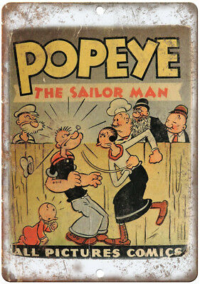 "Feed Popeye King Comics Vintage Ad 10/"" X 7/"" Reproduction Metal Sign J255"