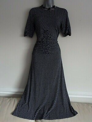 Red Herring Navy Blue & White Spotty Jersey Short Sleeve Ruched Dress Size 10