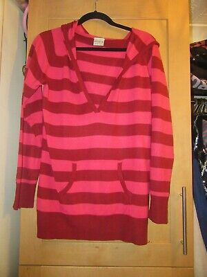 Next Girls Age 15-16 Years Red/Pink Striped Hooded Jumper Top