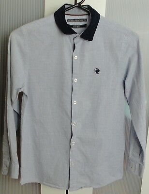 NEXT Stone Blue Long Sleeved Collared Button Up Shirt/Top Boys 11 Years