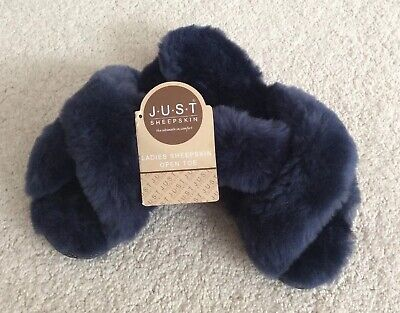 Ladies Just Sheepskin Daisy Sliders - Slippers - Navy Blue - UK7-8 New With Tags