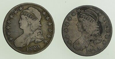 Lot (2) 1824 & 1829 Capped Bust Half Dollars - Circulated *8998