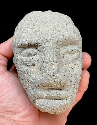 Very Old Rare Pre-Columbian Aztec/Mayan Olmec Carved Stone Face Figure Statue