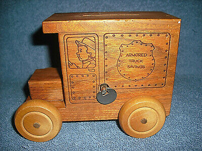 1988 Toystalgia Inc. Armored Truck Savings Wind Up Musical Wooden Coin Bank Nice