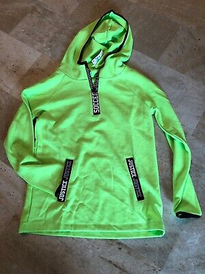Justice Active Soccer Bright Green Hooded Sweatshirt size 10 Girls NWT