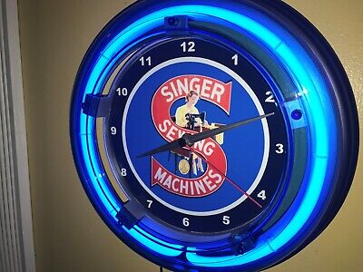 *Singer Sewing Machine Seamstress Tailor Advertising Blue Neon Wall Clock Sign
