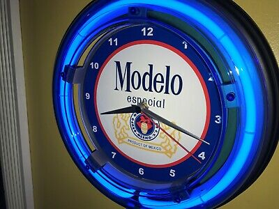 Modelo Cerveza Beer Bar Man Cave Blue Neon Advertising Wall Clock Sign