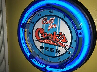 Cook's Goldblume Beer Bar Man Cave Advertising Blue Neon Wall Clock Sign
