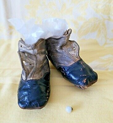 Antique Victorian Edwardian Baby Child's Leather High Top Button Shoes