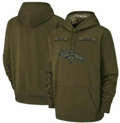 Denver Broncos Olive Salute to Service Sideline THERMA Hoodie 2019