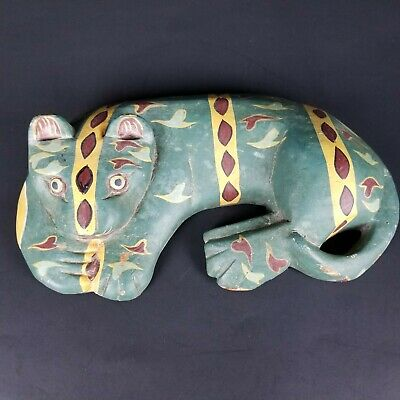 Vintage Carved Wood Folk Art Primitive Cat Tribal Design Hand Painted Leopard