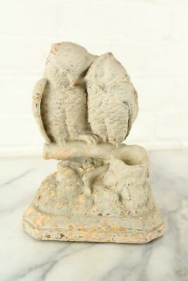 Antique Owl Lovers Plaster Match Safe by Hennecke's Statuary