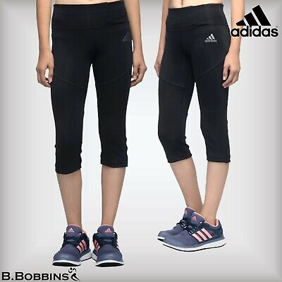 🔥 SALE Adidas Black Climalite® Girls 3/4 Tights Age 5-6-9-10-11-12-13-14 Years