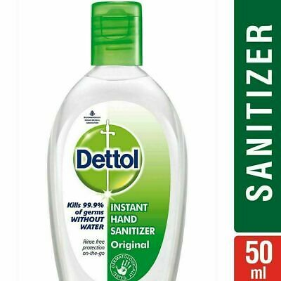 4 X Dettol Instant Hand Sanitizer Original 50ml Kills 99.9% Germs without Water