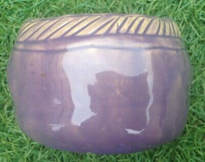 Louise Taylor  Vase  /  Bowl Hand Made Purple Drip Glaze Australian Pottery Vgc