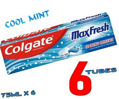 COLGATE Max Fresh Fluoride Toothpaste With Cool Mint Cooling Crystal 75 ml  x 6