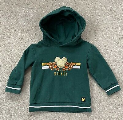 Baby Girl River Island Mickey Mouse Sequin Hoody Jumper Green 9-12 Months Jacket