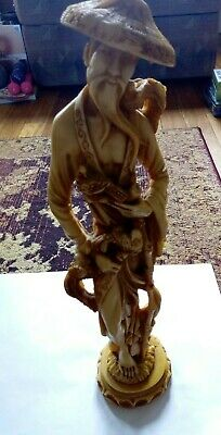 "18"" (46cm) Tall Male Oriental Chinese Rare Resin Figure"