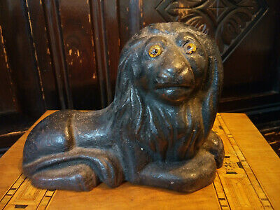 Antique Victorian Cast Iron Lion Doorstop / Paperweight with Glass Eyes