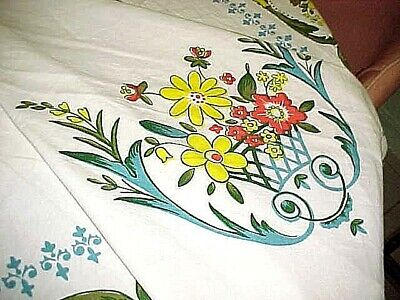 "Long 84""x60"" Vintage Colorful Floral Cotton Tablecloth Rectangular"