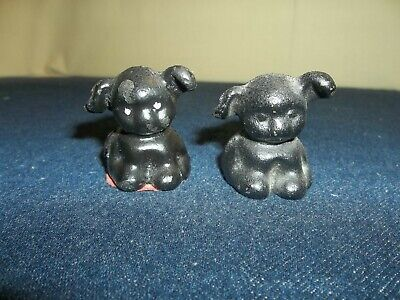 Pair Vintage Cast Iron Puppy Dog Painted Paperweight Hubley Griswold Toy Figures