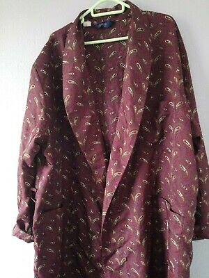 Vintage BONSOIR OF LONDON Paisley Dressing Gown Robe BURGUNDY RED XXL