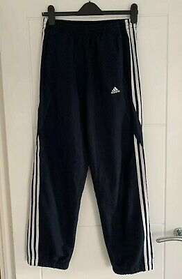 Adidas Navy 3 Stripe Tracksuit Gym Bottoms Size Small Unisex 8/10 VGC
