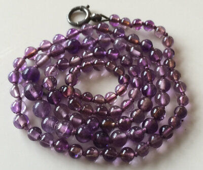 Superb Antique Art Deco Graduated Knotted Natural Amethyst Bead Necklace