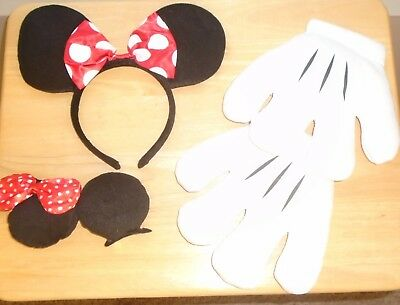 Disney Minnie Mouse Ears/Headband Gloves/Hands Mommy and Me Costume  NEW