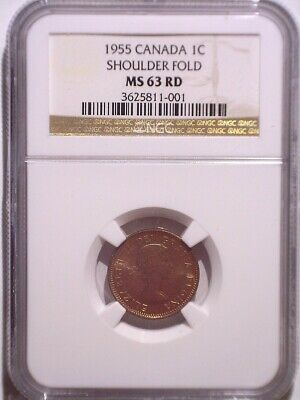 1955 SF NGC MS63RD Canada Small One Cent - FULL RED and LUSTER - UNC Penny - 1C