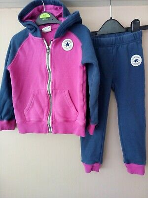 girls All star converse track suit. pink and navy size 3/4 years. Used