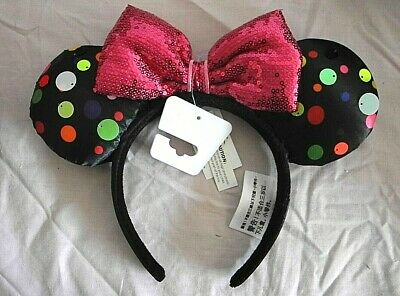 Disney Parks Minnie Mouse Ears Rock the Dots Pink Bow Big Sequins Headband 2019