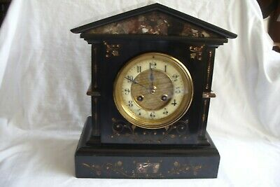 Victorian Black Slate And Marble Inset 8 Day Striking Mantle Clock.