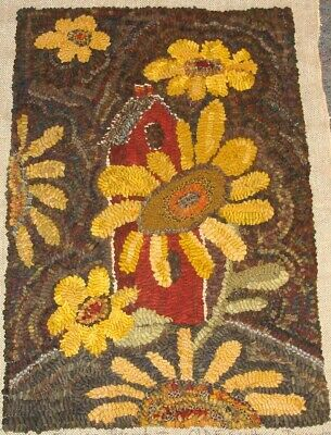 Sunflowers And Birdhouse  ~  Primitive  Design ~ Linen Rug Pattern