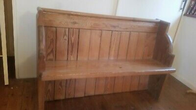 Antique Solid Pitch Pine Church Pew