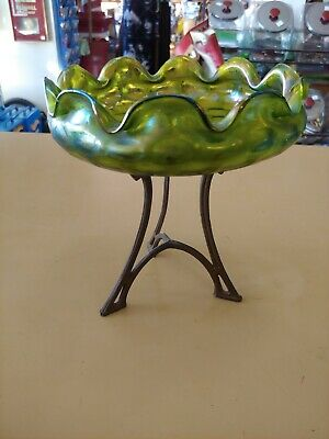 Vintage Green Iridescent Loetz Compote Candy Dish