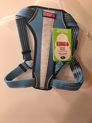 Kong Light Blue Dog Harness Padded Chest Plate Reflective Large