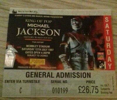 MICHAEL JACKSON  used concert ticket WEMBLEY STADIUM SATURDAY 12th July 1997