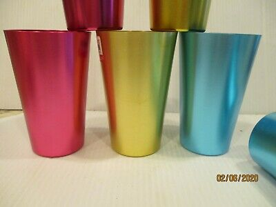 6 Aluminum Drinking Tumblers 12 oz Vintage -Retro Glasses colorful Cups PIER 1