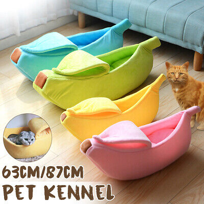 Pet Cat Kennel Banana House Tent Puppy Winter Warm Cushion Basket Animal Bed