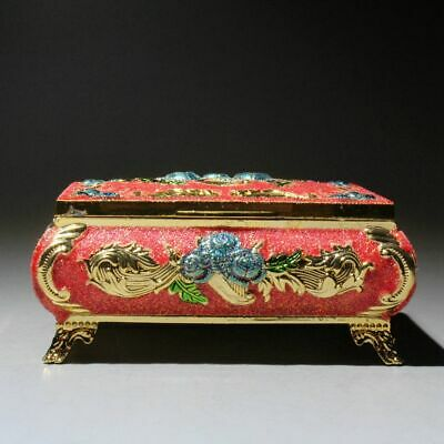 China Collectable Copper Hand-Carved Beautiful Flower Royal Delicate Jewelry Box