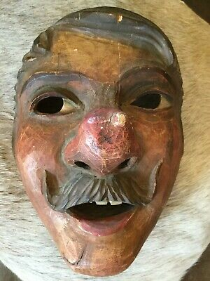 Italian Wooden Hand Carved Folk Mask ANRI Black Forest All Original Vintage