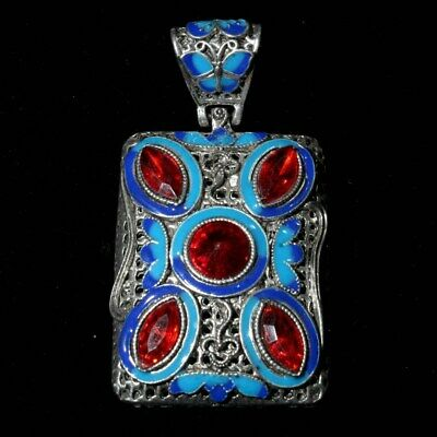 Collectable Handwork Old Miao Silver Cloisonne Carve Butterfly Beautiful Pendant