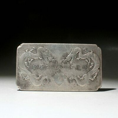 Collect China Tibet Silver Hand-Carved Double Dragon Chase Sun Exorcism Pendant