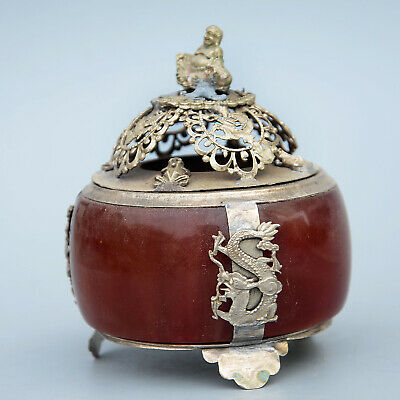 Collectable Old Miao Silver Antique Mosaic Jade Hand-Carved Buddha Dragon Censer