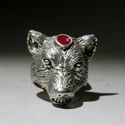 Collectable China Handwork Miao Silver Carve Wolf Head Delicate Beautiful Ring