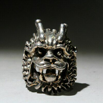 Collectable Chinese Handwork Ancient Miao Silver Carve Dragon Head Delicate Ring